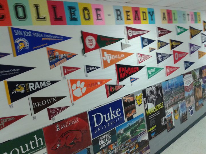 Atherton's College Wall with pennants