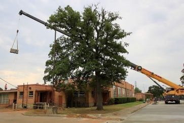 "Crane ""flys"" new RTU to the roof of South Davis Elementary"