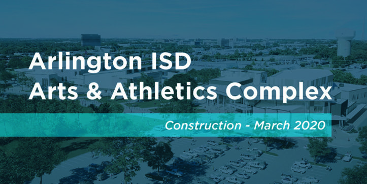 Title graphic for construction update video of the AISD Arts and Athletics Complex