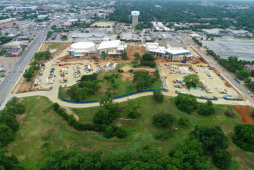 Aerial photo of the Arlington ISD Arts and Athletics Complex