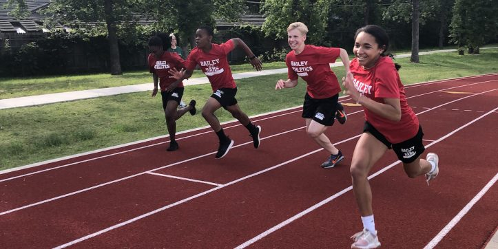 Bailey Junior High students sprint on their new track