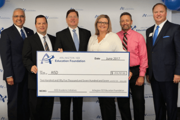 Dr. Cavazos and the CTC Administration receive a donation from the AISD Education Foundation