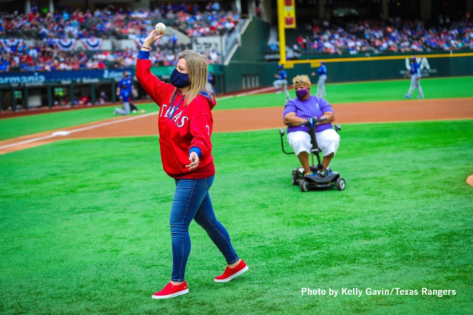 Dunn Elementary teacher throws first pitch at Texas Rangers opening day